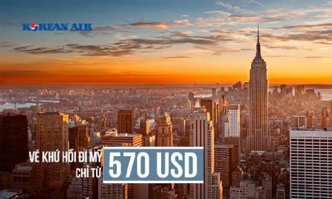 Korean Air Khuyến mãi vé máy bay đi Mỹ từ 570 USD