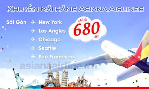 Asiana Airlines khuyến mãi vé máy bay đi Mỹ chỉ từ 680 USD